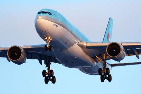 Sheremetyevo, Moscow Region, Russia - February 20, 2011: Korean Air Airbus A330-200 HL7539 landing at Sheremetyevo international airport.