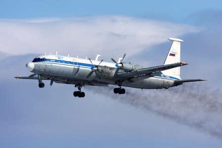 Chkalovsky, Moscow Region, Russia - March 7, 2011: Ilyushin IL-22 of russian air force taking off at Chkalovsky.
