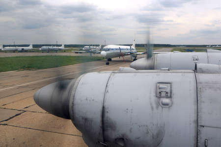 Chkalovsky, Moscow Region, Russia - May 24, 2015: Ilyushin IL-18 of Russian Air Force wing view.