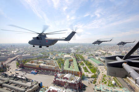 Red Square, Moscow, Russia - May 9, 2015: Mil Mi-26 and Mi-8 helicopters of Russian Air Force during Victory Day parade.