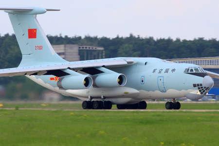 Zhukovsky, Moscow Region, Russia - May 24, 2013: Ilyushin Il-76TD of china air force taxiing at Zhukovsky.