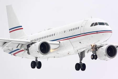 Vnukovo, Moscow Region, Russia - March 23, 2014: Private Airbus A319 ACJ P4-VNL landing at Vnukovo international airport. Redakční