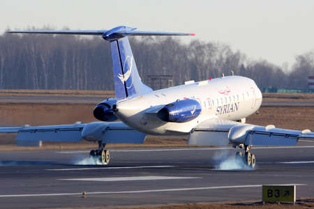 Vnukovo, Moscow Region, Russia - March 9, 2014: Syrian Air Tupolev Tu-134 landing at Vnukovo international airport.