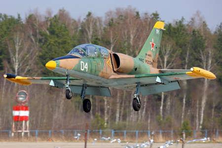 Kubinka, Moscow Region, Russia - April 24, 2014: Aero L-39C Albatros of russian air force landing at Kubinka air force base.