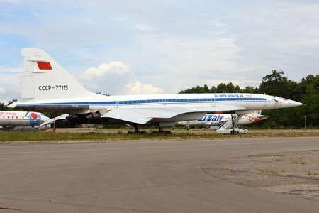 Zhukovsky, Moscow Region, Russia - August 21, 2015: Tupolev Tu-144 RA-77115 of Tupolev Design Bureau standing Zhukovsky during MAKS-2015 airshow.
