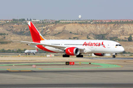 Madrid, Spain - August 12 2015: Boeing 787-8 Dreamliner of Avianca airlines taxiing at Madrid Barajas Adolfo Suarez airport.