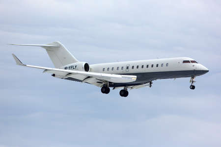 Vnukovo, Moscow Region, Russia - October 22, 2014: Private Bombardier Global Express M-YFLY landing at Vnukovo international airport.