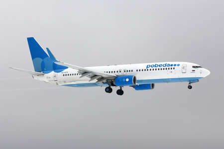 Vnukovo, Moscow Region, Russia - March 23, 2014: Boeing 737-800 of Pobeda airlines landing at Vnukovo international airport.