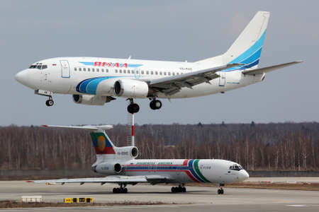 Domodedovo, Moscow Region, Russia - April 22, 2011: Boeing 737-56N VQ-BAB of Yamal Airlines landing at Domodedovo international airport.