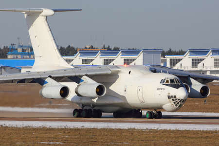 Zhukovsky, Moscow Region, Russia - March 23, 2014: Ilyushin IL-76TD taxiing at Zhukovsky airport.