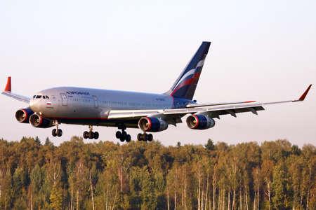 Sheremetyevo, Moscow Region, Russia - September 22, 2010: Aeroflot Ilyushin Il-96-300 RA-96007 landing at Sheremetyevo international airport.