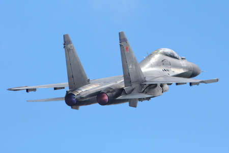 Zhukovsky, Moscow Region, Russia - May 29, 2013: Sukhoi Su-30MKK of russian air force taking off at Zhukovsky.