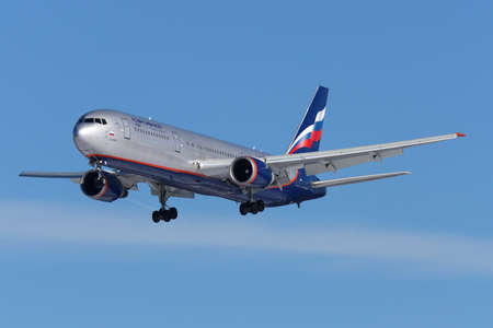 Sheremetyevo, Moscow Region, Russia - March 10, 2011: Aeroflot Boeing 767-300 VP-BWW landing at Sheremetyevo international airport. Editorial