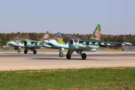 Kubinka, Moscow Region, Russia - April 24, 2014: Sukhoi Su-25SM of russian air force taking off at Kubinka air force base.