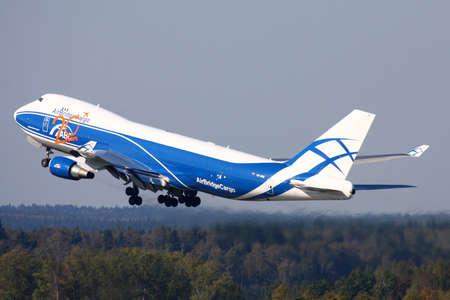 Sheremetyevo, Moscow Region, Russia - September 22, 2010: Air Bridge Cargo Boeing 747-400 taking off at Sheremetyevo international airport. Redakční