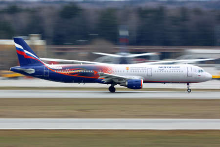 Sheremetyevo, Moscow Region, Russia - April 17, 2015: Aeroflot Airbus A321 in Manchester United special livery taking off at Sheremetyevo international airport.
