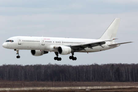 Domodedovo, Moscow Region, Russia - April 22, 2011: Vim Avia airlines Boeing 757-300 RA-73009 landing at Domodedovo international airport. Redakční