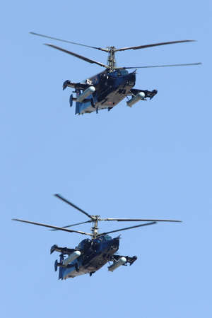 Red Square, Moscow, Russia - May 9, 2009: Kamov Ka-50 attack helicopters of Russian Air Force during Victory Day parade.