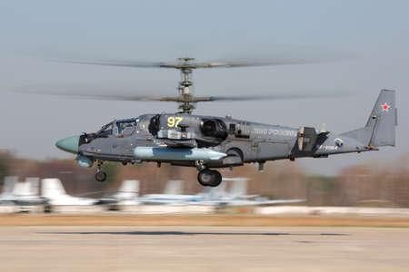 Kubinka, Moscow Region, Russia - April 24, 2014: Kamov Ka-52 of russian air force taking off at Kubinka air force base.