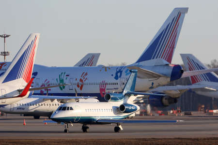 Vnukovo, Moscow Region, Russia - March 9, 2014: Dassault Falcon F900 LX-GLD taxiing at Vnukovo international airport.