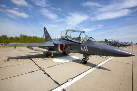 Klin, Moscow Region, Russia - May 9, 2015: Yakovlev Yak-130 military jet standing at Klin air force base on a Victory Day. Redakční