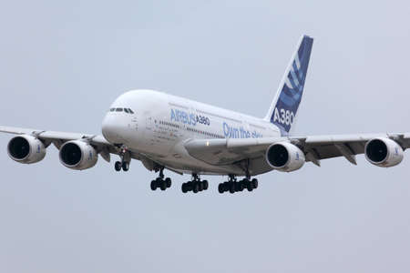 Zhukovsky, Moscow Region, Russia - August 30, 2013: Airbus Industrie A380 F-WWDD modern civil airliner landing after a demo flight in Zhukovsky during MAKS-2013 airshow. Redakční