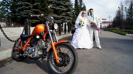 the city of Beloretsk,Bashkortostan,Russia.Bikers at the wedding ceremony.