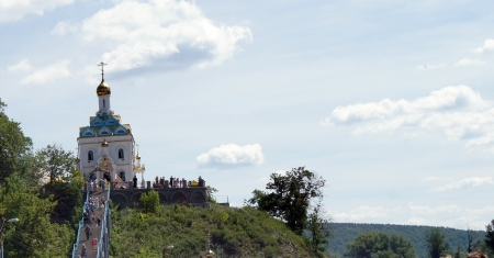 the feast of the passover: The Church on the hill,on the background of blue sky  Stock Photo