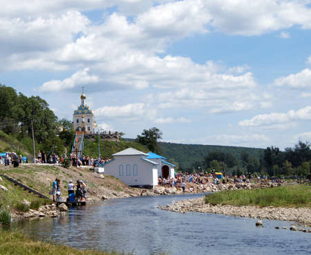 on June 15, 2012 , Табынск,Bashkortostan   Each of the 9th Friday after Pascha is held religious procession with the icon of the Mother of God  Табынская  with deep time and still is celebrated as the day of the manifestation of Табын Stock Photo - 19464829