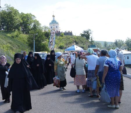 on June 15, 2012 ,city Krasnousolsk,Bashkortostan.Each of the 9th Friday after Pascha is held religious procession with the icon of the Mother of God