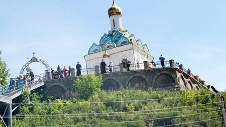 on June 15, 2012 ,city Krasnousolsk,Bashkortostan.Each of the 9th Friday after Pascha is held religious procession with the icon of the Mother of God Табынская with deep time and still is celebrated as the day of the manifestation of Табын