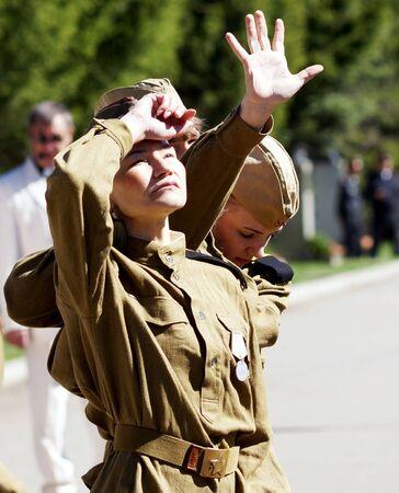 9. Mai, die Stadt der Beloretsk, Baschkortostan. Theaterauff�hrung zu Ehren des Sieges im Gro�en Vaterl�ndischen Krieg.
