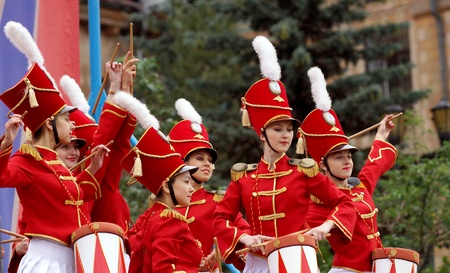 29 June 2013,the city of Chelyabinsk ,a performance by a group of girls drummers .