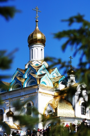 Temple of the Tabynsk icon of the Mother of God, the Saints of the Keys krasnousolsky.                      Stock Photo