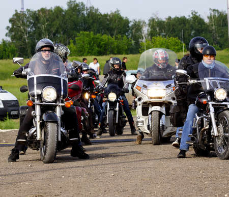 8 June 2013, the city of Samara, Russia  The fifth festival  Rock nad volgoi 2013 , which has become the largest rock festival in Europe  The participants of the festival motorcycle club «Night wolves»  Editorial