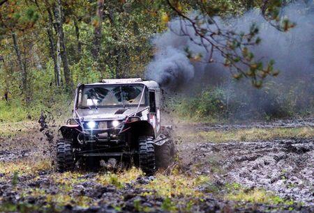 SUV bewegt sich auf einem Feldweg in den herbstlichen Wald. Lizenzfreie Bilder