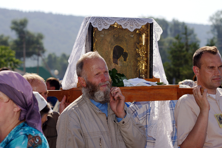 according to the scriptures: 5 July 2013 ,the city Krasnousolsk , Bashkortostan,Russia   The feast of the Tabynsk icon of the Mother of God - the main Shrine of the believers of the southern Urals and Orenburg regions, Religious procession Editorial