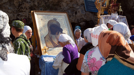 according to the scriptures: 5 July 2013 ,the city Krasnousolsk , Bashkortostan,Russia . The feast of the Tabynsk icon of the Mother of God - the main Shrine of the believers of the southern Urals and Orenburg regions, Religious procession Editorial