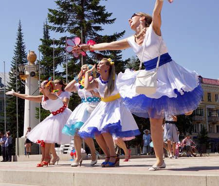 July 6, 2014, Beloretsk, Bashkortostan, Russia, as a sign of continuation of the great traditions held its annual public city festival Parade of brides-2014 , was attended by 50 most charming brides. The celebration was accompanied by a theatrical perfo