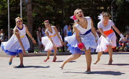 July 6, 2014, Beloretsk, Bashkortostan, Russia, as a sign of continuation of the great traditions held its annual public city festival  Parade of brides-2014  , was attended by 50 most charming brides  The celebration was accompanied by a theatrical perfo