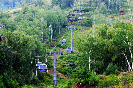 The funicular is located high above the trees.