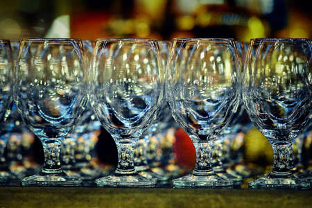 Empty and clean glasses are on the table. Stock Photo