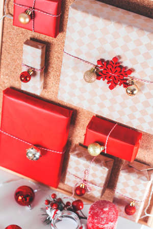 Christmas advent calendar with small gifts for children Stock Photo