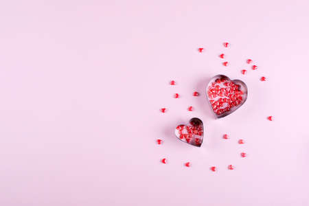Heart Candy background. Valentine's Day Concept. Flat lay, top view, copy space