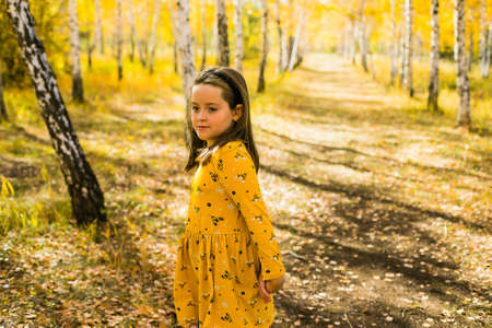 Little girl in in yellow dress in beautiful autumn park. Autumn fall concept