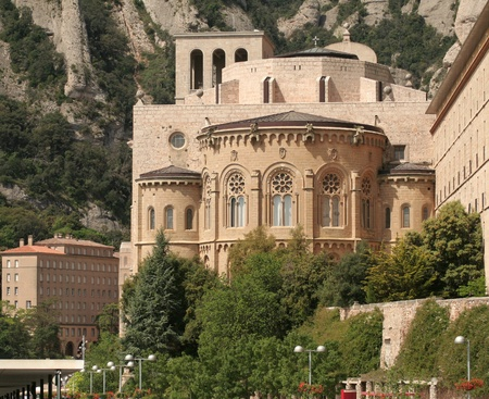 Montserrat Monastery is a beautiful Benedictine Abbey high up in the mountains near Barcelona, Spain.