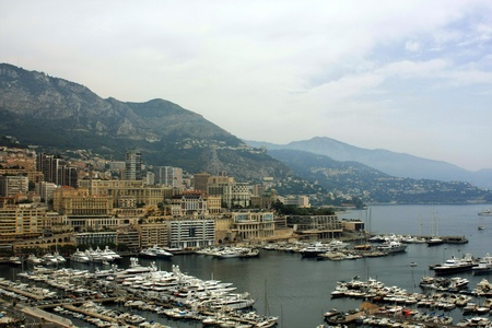 panoramic view of Monaco with the famous swimming pool and harbour photo