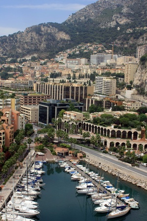 panoramic view of Monaco with the famous swimming pool and harbour