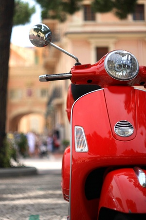 scooters: Red vintage scooter parked in the streets of Monaco