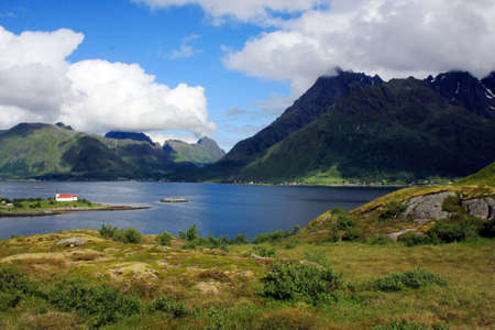 the view on the landscape in Lofoten islands photo